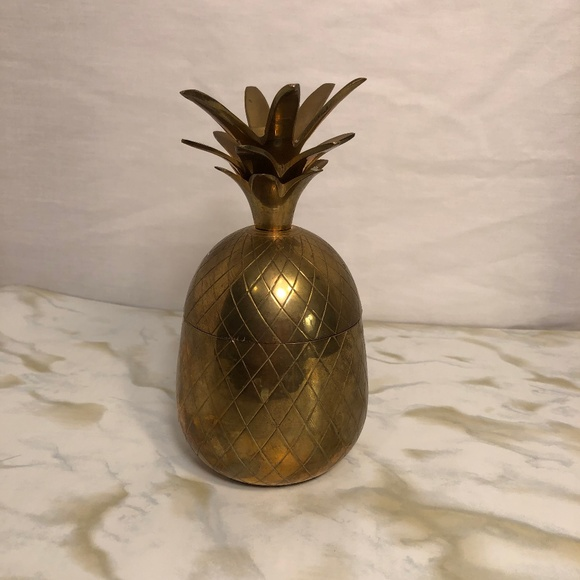 Brass Pineapple Home Decor Container